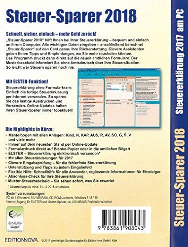 Steuer-Sparer 2018 - Steuererklärung 2017 am PC - 2