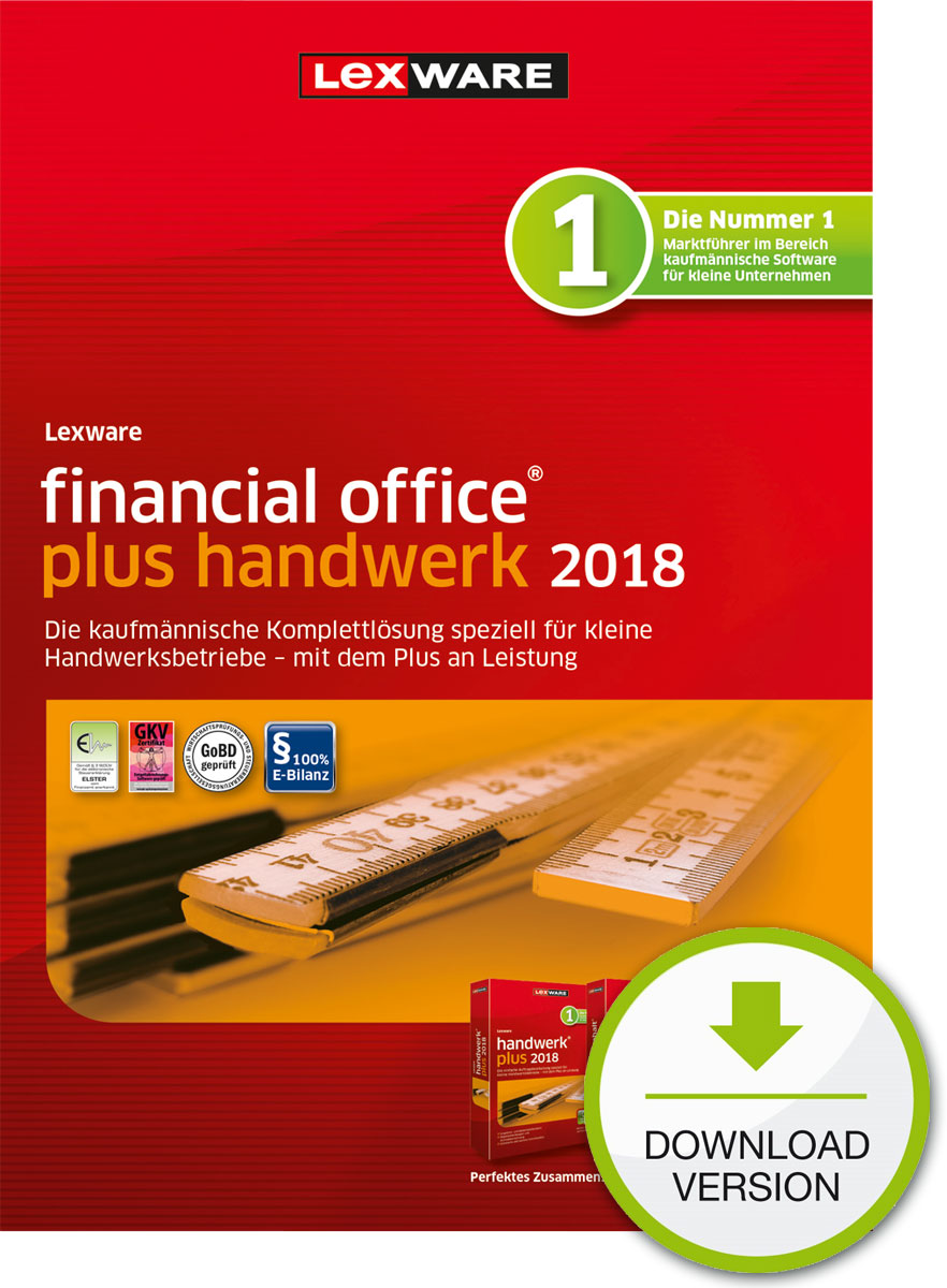 Lexware financial office plus handwerk 2018 Download Jahresversion (365-Tage) [Online Code]
